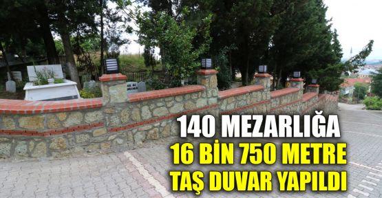 140 mezarlığa 16 bin 750 metre taş duvar yapıldı