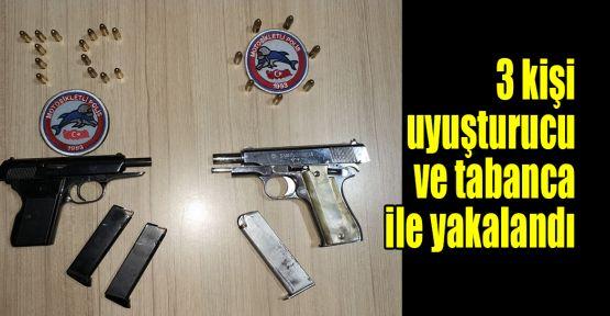 3 kişi uyuşturucu ve tabanca ile yakalandı
