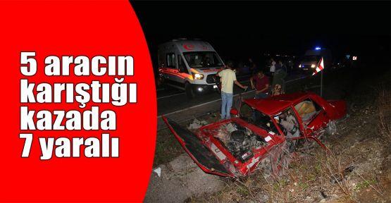 5 aracın karıştığı kazada 7 yaralı