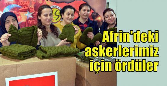 Afrin'deki askerlerimiz için ördüler
