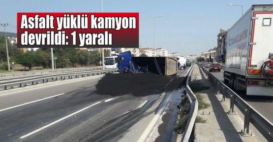 Asfalt yüklü kamyon devrildi: 1 yaralı