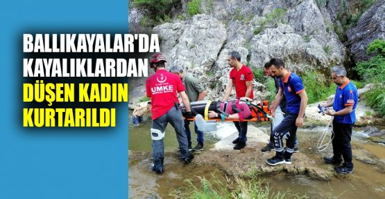 Ballıkayalar'da kayalıklardan düşen kadın kurtarıldı