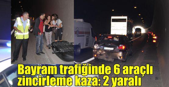Bayram trafiğinde 6 araçlı zincirleme kaza: 2 yaralı