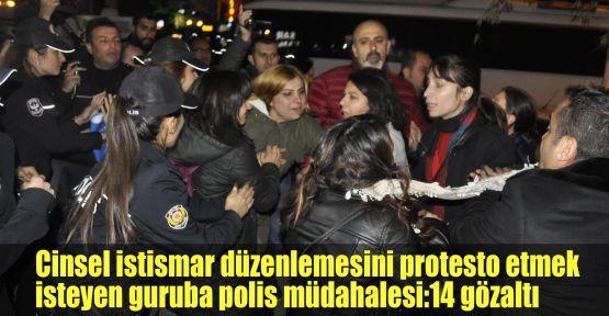 Cinsel istismar düzenlemesini protesto etmek isteyen guruba polis müdahalesi:14 gözaltı