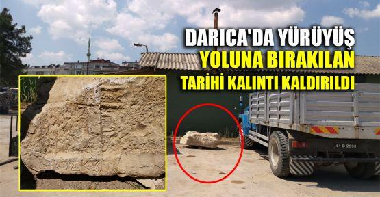 Darıca'da yürüyüş yoluna bırakılan tarihi kalıntı kaldırıldı