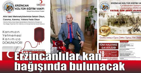 Erzincanlılar kan bağışında bulunacak