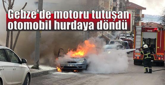 Gebze'de motoru tutuşan otomobil hurdaya döndü