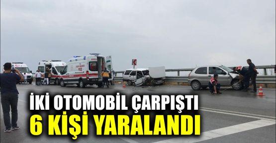 İki otomobil çarpıştı 6 kişi yaralandı