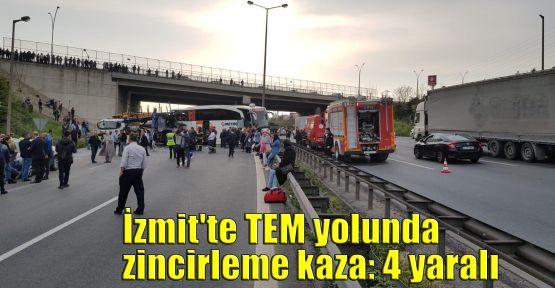 İzmit'te TEM yolunda zincirleme kaza: 4 yaralı