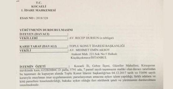 Kirazpınar'da, TOKİ'ye yargı engeli