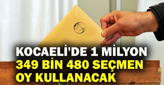 Kocaeli'de 1 milyon 349 bin 480 seçmen oy kullanacak