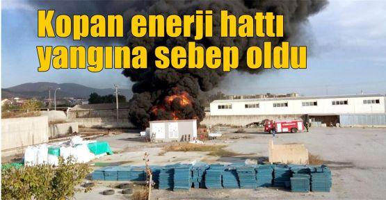 Kopan enerji hattı yangına sebep oldu