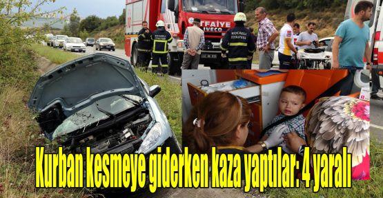 Kurban kesmeye giderken kaza yaptılar: 4 yaralı