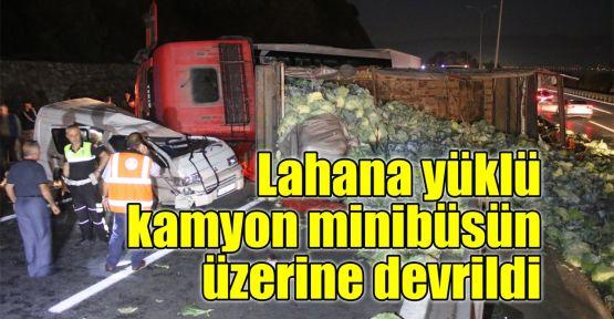 Lahana yüklü kamyon minibüsün üzerine devrildi