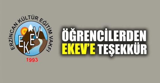 Öğrencilerden EKEV'e teşekkür