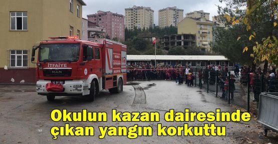 Okulun kazan dairesinde çıkan yangın korkuttu