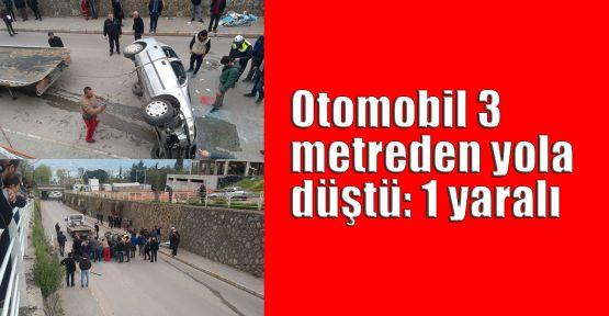 Otomobil 3 metreden yola düştü: 1 yaralı