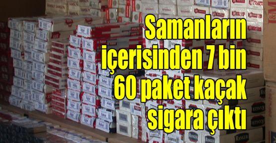 Samanların içerisinden 7 bin 60 paket kaçak sigara çıktı