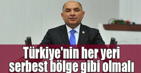 Tarhan: Türkiye'nin her yeri serbest bölge gibi olmalı