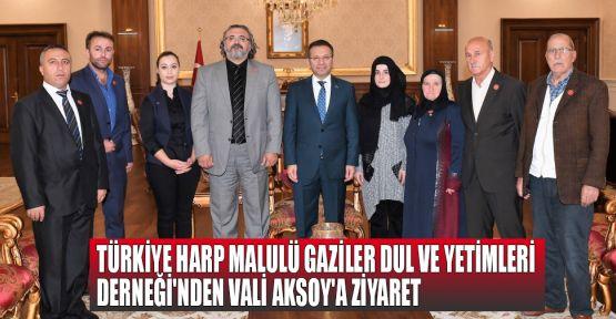 Türkiye Harp Malulü Gaziler Dul ve Yetimleri Derneği'nden Vali Aksoy'a ziyaret