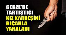 Gebze'de tartıştığı kızkardeşini bıçakla yaraladı