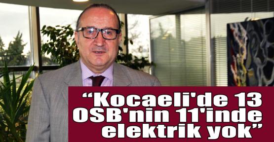 Zeytinoğlu:Kocaeli'de 13 OSB'nin 11'inde elektrik yok