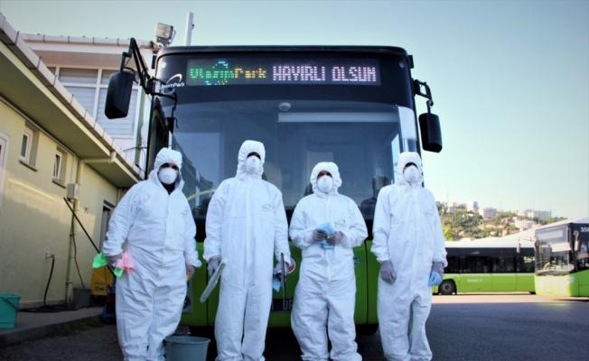 Kocaeli'de toplu taşıma araçları koronavirüse karşı dezenfekte ediliyor