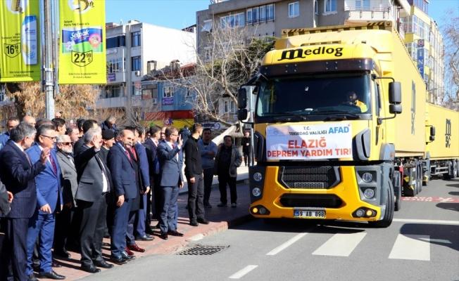 Tekirdağ'dan Elazığ'daki depremzedelere 4 tır yardım gönderildi