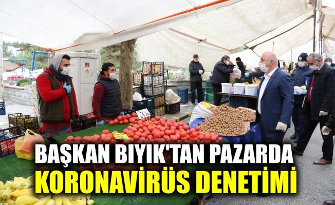 Başkan Bıyık'tan pazarda koronavirüs denetimi