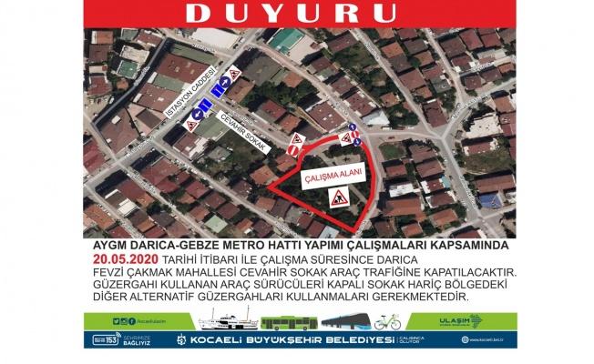 Darıca'da Metro hattı yapımı nedeniyle güzergah değişikliği