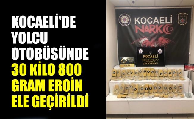 Kocaeli'de yolcu otobüsünde 30 kilo 800 gram eroin ele geçirildi
