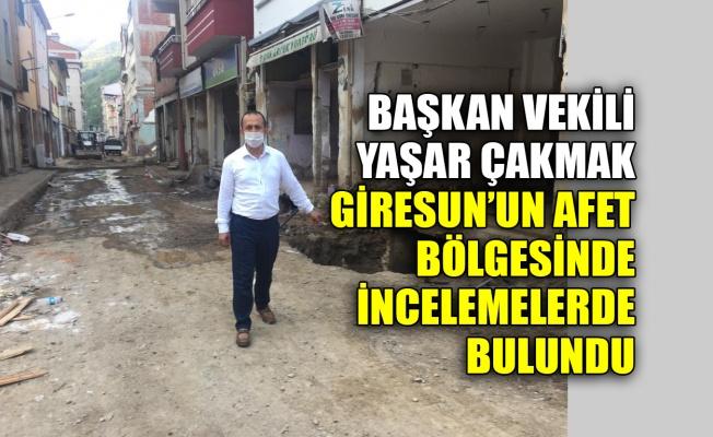 Başkan Vekili Çakmak, Giresun'un afet bölgesinde incelemelerde bulundu