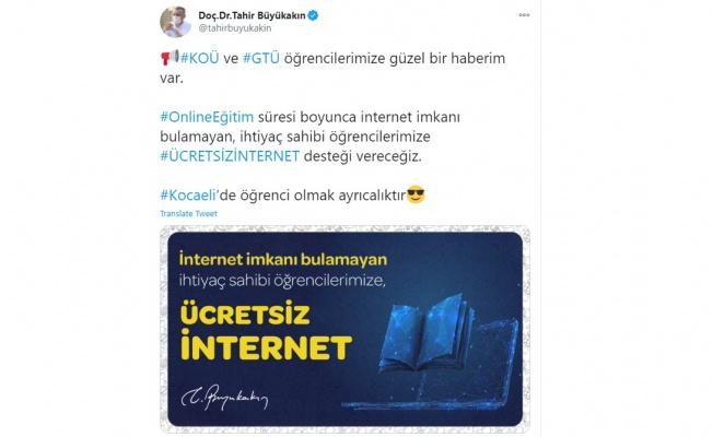 Başkan Büyükakın'dan üniversite öğrencilerine de ücretsiz internet