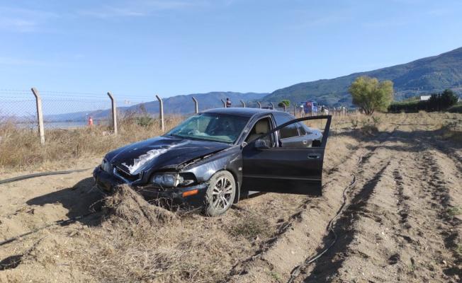 Tarlaya giren otomobil sürücüsü yaralandı