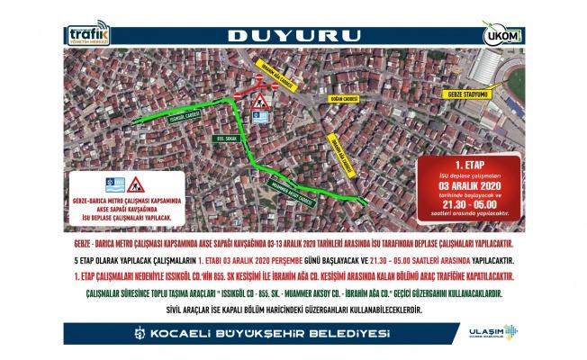 Gebze'de bu yollar 10 gün kapalı