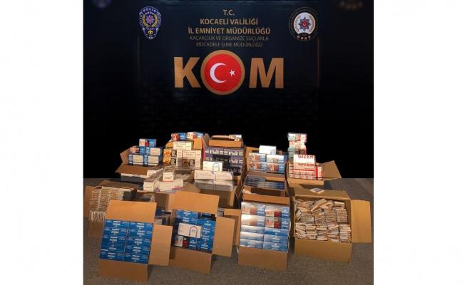 Kocaeli'de boş ve tütün doldurulmuş 181 bin makaron ele geçirildi