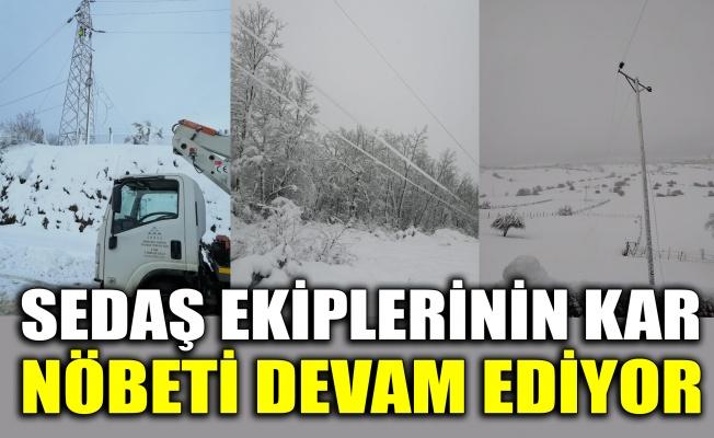 SEDAŞ ekiplerinin kar nöbeti devam ediyor