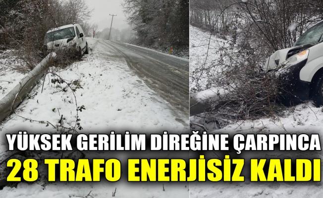 Yüksek gerilim direğine çarpınca 28 trafo enerjisiz kaldı
