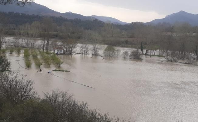 Bilecik'te Göksu Nehri'nin taşmasının ardından tarım arazilerinde hasar tespit çalışması başlatıldı