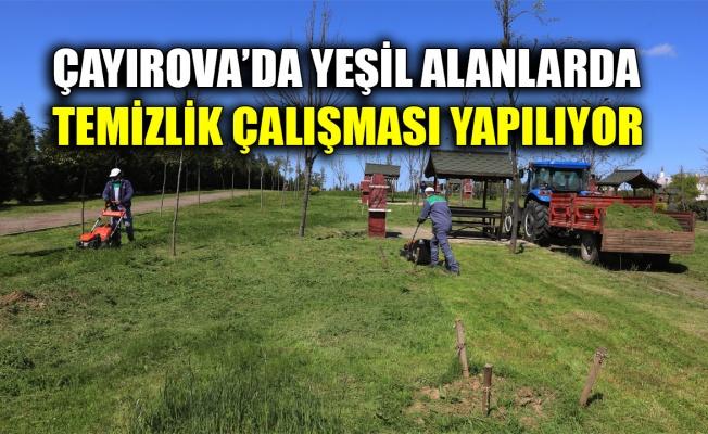 Çayırova'da yeşil alanlarda temizlik çalışması yapılıyor