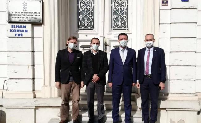 Çorlu Belediye Başkanı Sarıkurt'tan, Edirne Kültür Varlıkları Koruma Bölge Kurulu Müdürü Şamiloğlu'na ziyaret