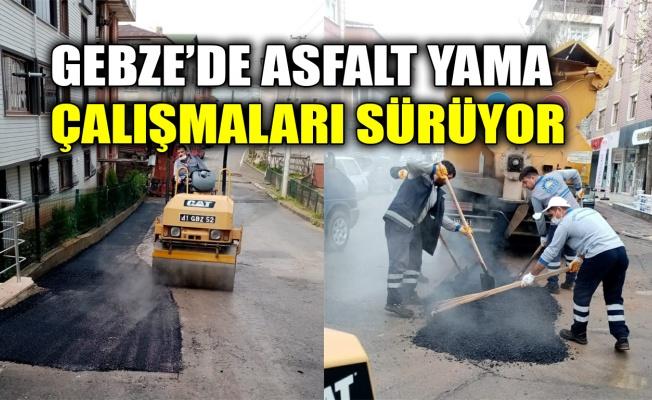 Gebze'de asfalt yama çalışmaları sürüyor