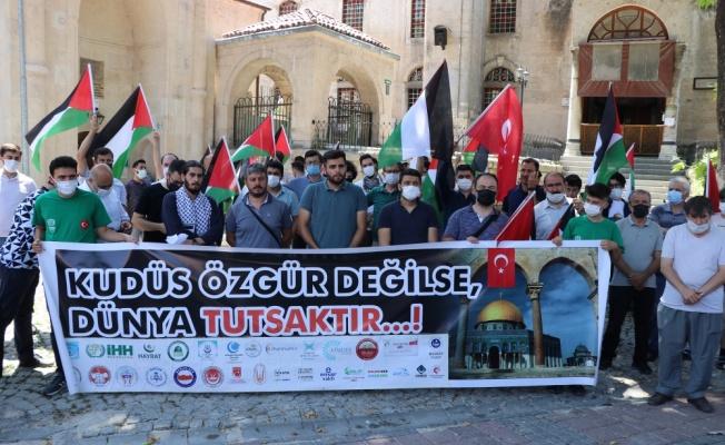 Bursa, Çanakkale ve Kütahya'da İsrail'in Mescid-i Aksa'daki politikaları protesto edildi