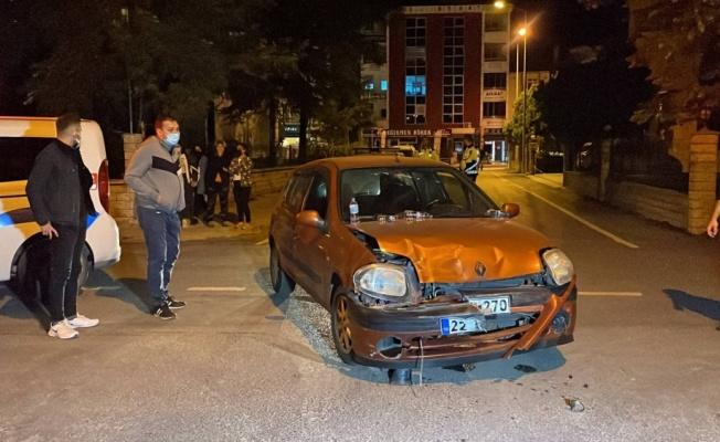 Edirne'de otomobille cipin çarpıştığı kazada 4 kişi yaralandı