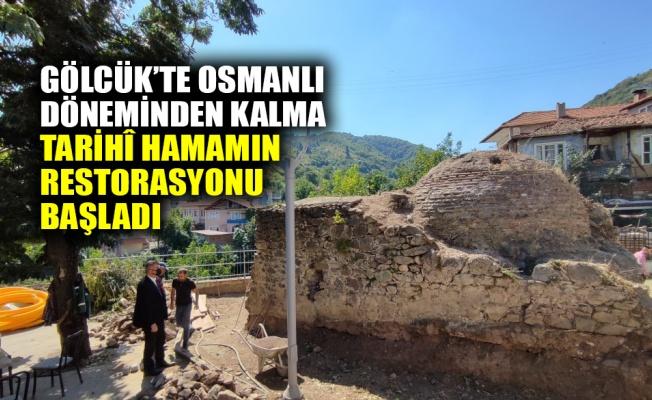 Gölcük'te Osmanlı döneminden kalma tarihî hamamın restorasyonu başladı