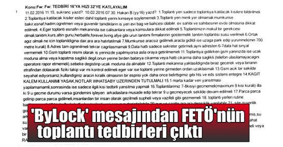 'ByLock' mesajından FETÖ'nün toplantı tedbirleri çıktı