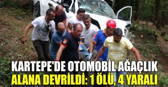 Kartepe'de otomobil ağaçlık alana devrildi: 1 ölü, 4 yaralı