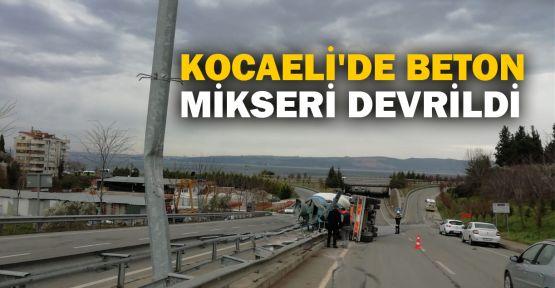 Kocaeli'de beton mikseri devrildi