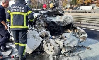 Gebze'de kazanın ardından alev alan otomobildeki 2 kişi ağır yaralandı