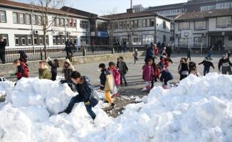 Belediye üç kamyon kar getirdi, öğrenciler okul bahçesinde oynadı